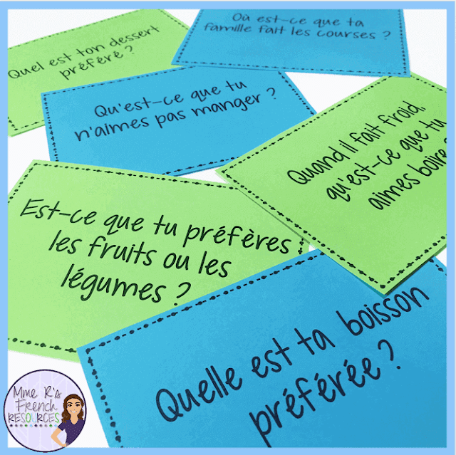 This free speaking activity for French food vocabulary is a great way to get beginning French students speaking. Includes question cards and fun ideas for using them. Click here to read more about Mme R's speaking activities and find this FREE activity.