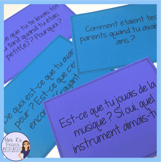 These French speaking prompts for practicing the imparfait tense are a fun way to get your students speaking! Click here to read more about Mme R's speaking activities and find a link to these cards.