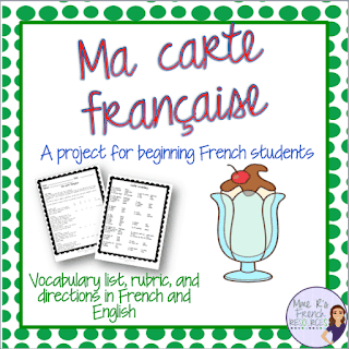 Students create a French menu for class. Project and grading rubric for teachers.