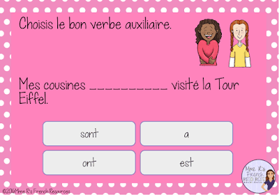French digital task cards for practicing avoir and être verbs