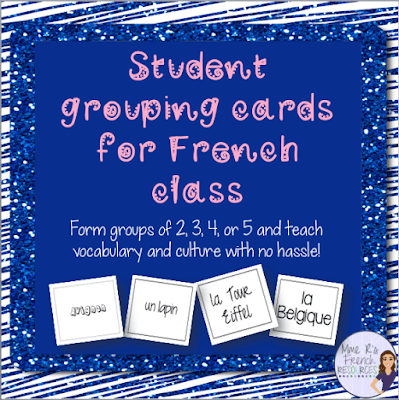 Do you need a painless way to group your students?  Do you want to introduce French vocabulary and culture effortlessly?  Check out these cards!