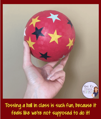Tossing a ball is a fun way to practice verbs, vocabulary, or review for tests.
