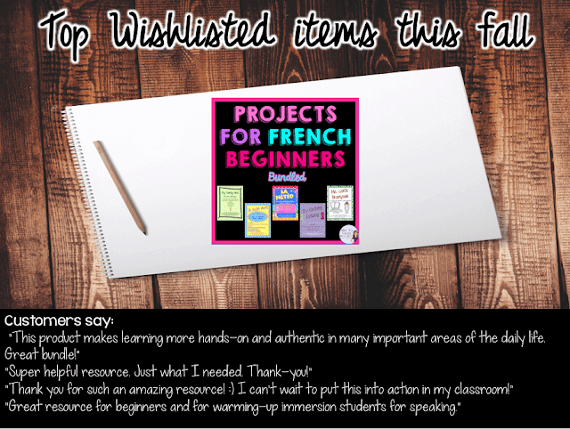 These 5 projects from Mme R's French Resources are really engaging for beginners. They are one of the top wishlisted items at her TpT store.