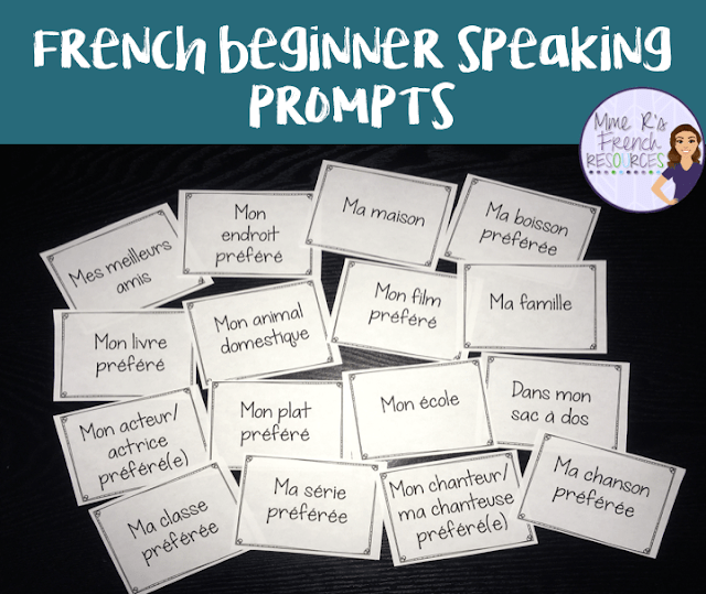 These fun beginner speaking prompts are a quick and easy way to get beginning French students speaking. Click here to read more about them.