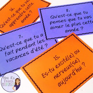 French icebreaker speaking cards are a great activity for the first day of school!