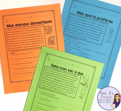 Differentiated French reading passages and comprehension questions for beginning students.