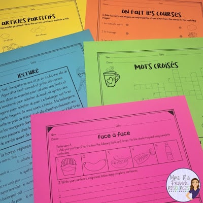 French food unit speaking and writing acitivities for beginners. Great for French 1 or core French.