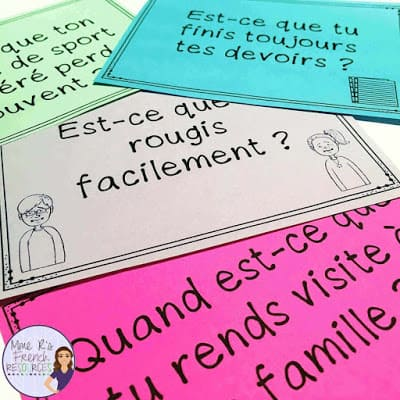 French -ir and -re verb speaking prompts for beginners