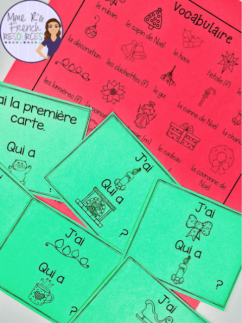 StudentswilllovepracticingtheirFrenchChristmasvocabularyusingthesej'aiquiacards.