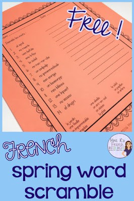 French spring themed word scramble. Great for FSL, immersion, and core French.