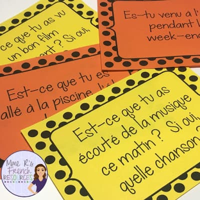 French speaking questions for passé composé verbs