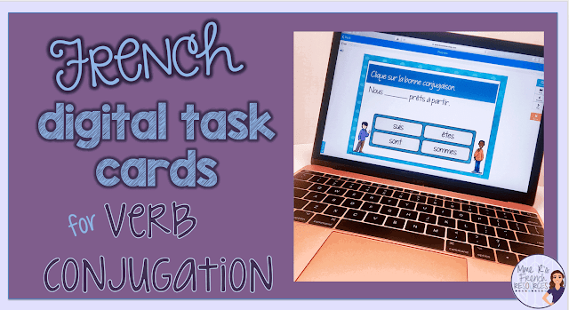 French verb conjugation task cards