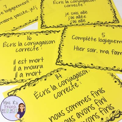 This Scoot game is a fun way to practice the passé composers in French class. The verb activity includes cards with avoir and être and is a great quiz review!