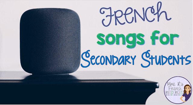 French songs for secondary students and teachers